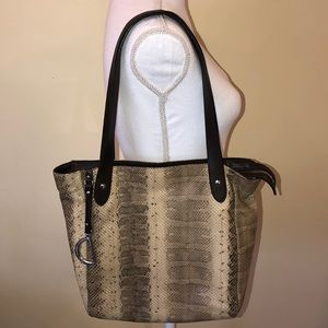 Ralph Lauren snakeskin shoulder bag purse brown